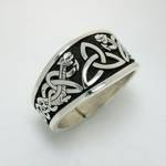 Antiqued Sterling Silver Celtic Triangle Knot with Dragon Style 2
