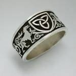 Antiqued Sterling Silver Celtic Hounds and Vines with Triangle Knot Shield 2